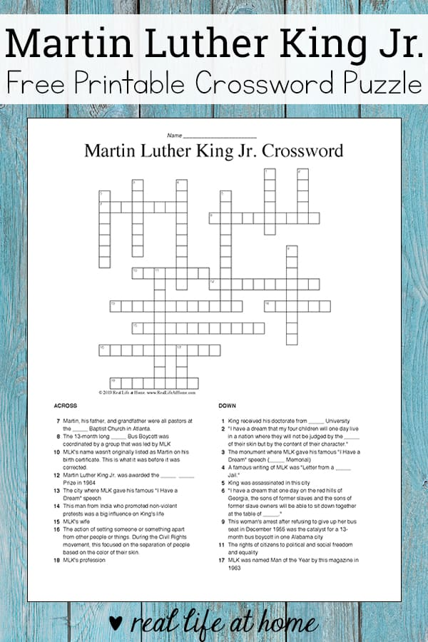 photograph about Simple Crossword Puzzles Printable called Martin Luther King Jr Crossword Puzzle Absolutely free Printable for Small children