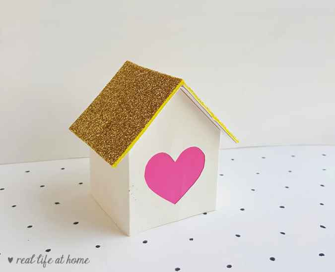 Finished heart house luminary craft on Real Life at Home (before being lit)