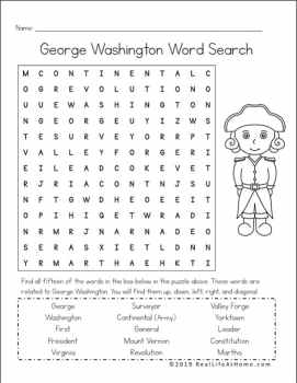 George Washington Word Search Printable - Available Free at Real Life at Home