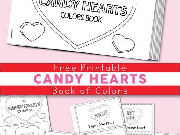 Free Printable Candy Hearts Valentine Color Book for Kids