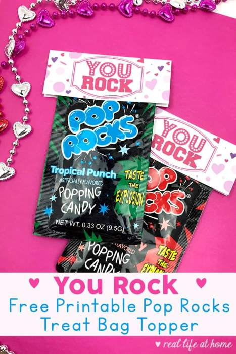 You Rock Pop Rocks Treat Bag Topper - Free Printable from Real Life at Home