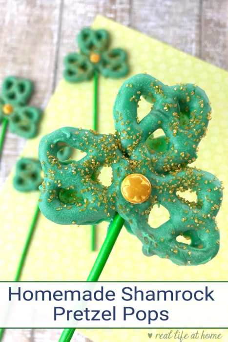 These easy Shamrock Pretzel Pops are perfect as a fun Saint Patrick's Day Snack for kids. They can also be used when learning about the Holy Trinity. | Real Life at Home