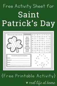 Free Printable St. Patrick's Day Activity Page or Placemat for Kids | Real Life at Home