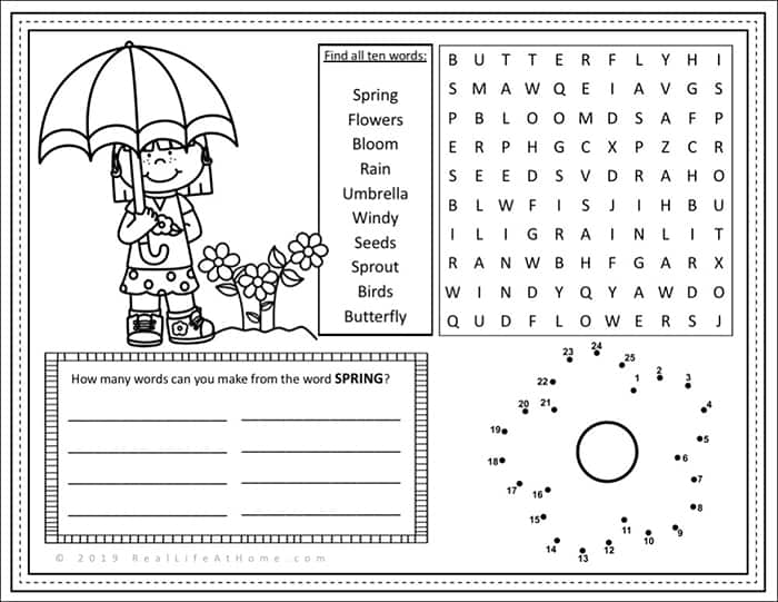 image about Printable Placemats for Preschoolers referred to as No cost Spring Recreation Website page Printable for Children (Exciting Video game
