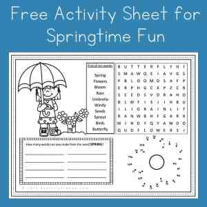Free Spring Activity Page Printable For Kids Fun Activity Placemat
