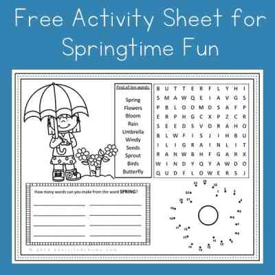 Free Printable Spring Activity Page or Placemat for Kids