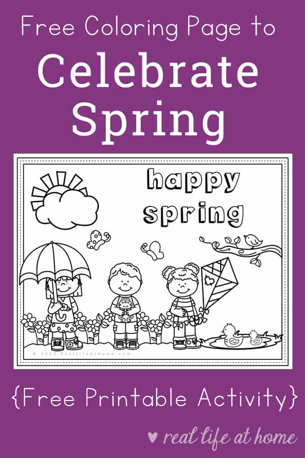 picture regarding Printable Spring Pictures known as Satisfied Spring - Totally free Spring Coloring Webpage Printable for Children