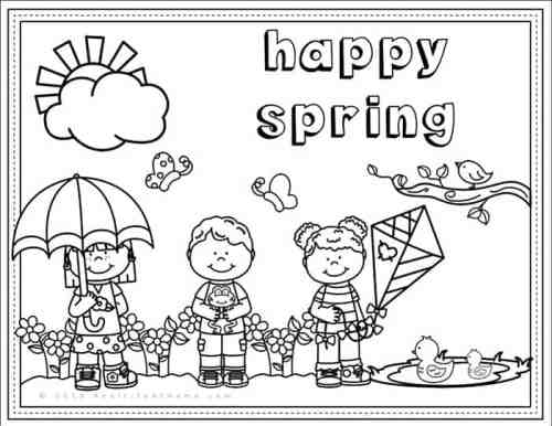 spring scene coloring pages - photo#42