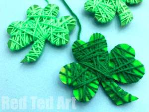 Yarn Wrapped Shamrocks