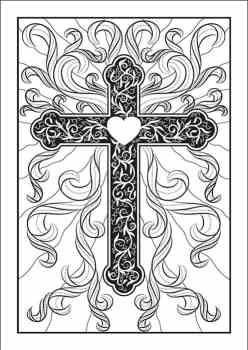 Free Religious Cross Coloring Page available at Real Life at Home