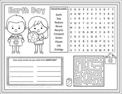 Free Earth Day Activity Page Printable from Real Life at Home