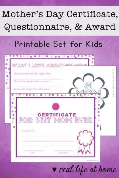 A printable set for Mother's Day featuring a Mother's Day certificate, Mother's Day interview, and a #1 Mom Badge to color for mom.