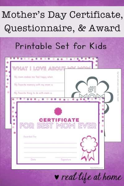 mother 39 s day printable set questionnaire certificate award. Black Bedroom Furniture Sets. Home Design Ideas