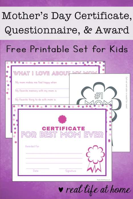 Free Printable Mother S Day Questionnaire Certificate And Award
