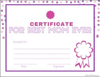 Best Mom Ever Free Printable Certificate from Real Life at Home