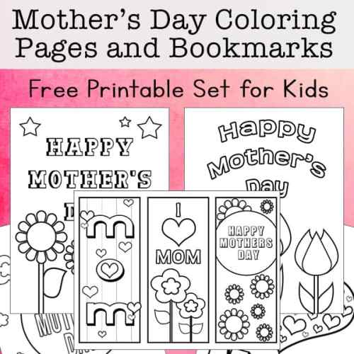 Free Set of Mother's Day Coloring Pages and Mother's Day Bookmarks from Real Life at Home