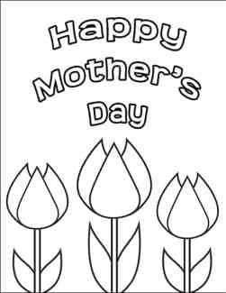 Happy Mother's Day Coloring Page with Tulips