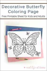 Looking for a fun coloring page for Spring and Summer? Here's a free printable Butterfly Coloring Page that is great for kids of all ages (and adults too)!