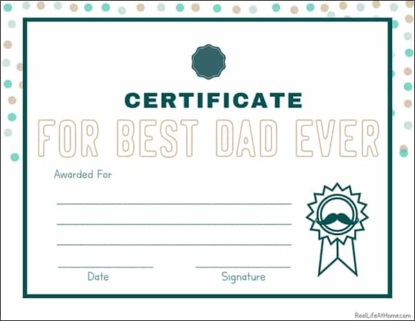 picture regarding Father's Day Printable named Free of charge Printable Fathers Working day Questionnaire, Certification, and