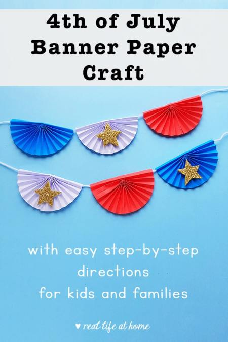 This easy 4th of July banner paper craft is an inexpensive project for kids to make to celebrate. The post includes pictures and step-by-step directions.