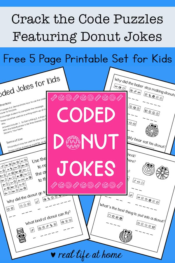 image about Free Printable Puzzles for Kids known as Split the Code Puzzles Free of charge Printable Presenting Donut Jokes