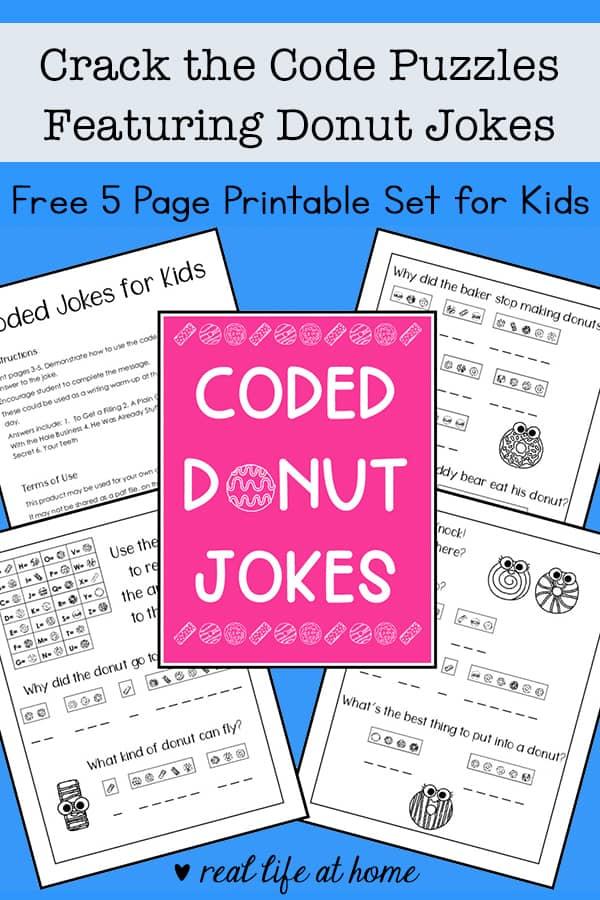 picture regarding Brain Teasers Printable identify Break the Code Puzzles Absolutely free Printable Providing Donut Jokes