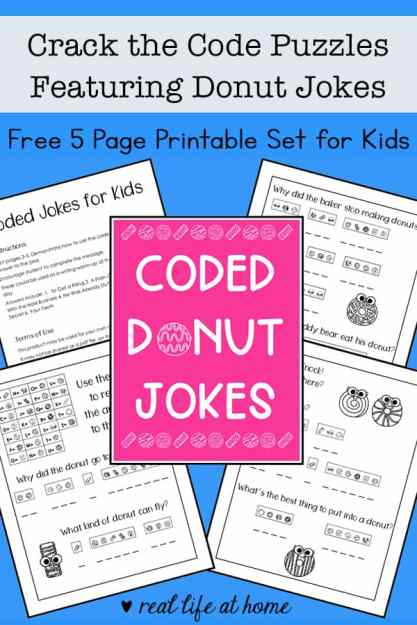 Need some brain teasers and problem solving for kids? They'll enjoy these free printable Crack the Code Puzzles featuring some silly donut jokes.