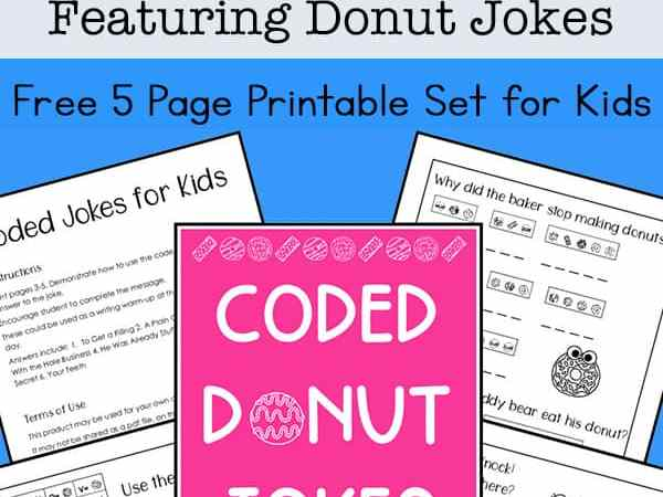 Crack the Code Puzzles Free Printable Featuring Donut Jokes