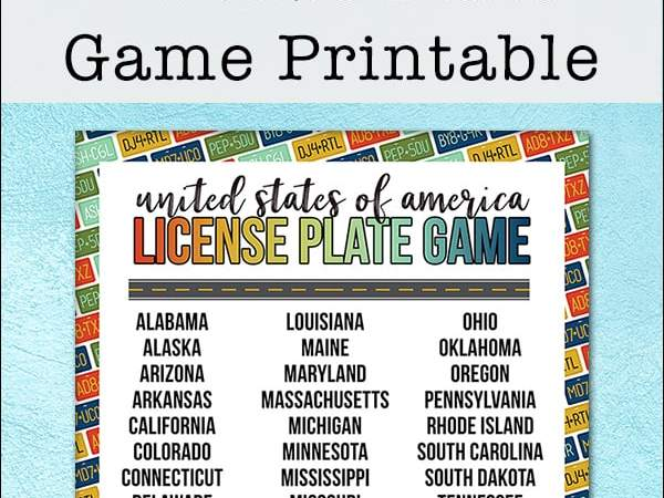 Free State License Plate Game Printable for Travel Fun