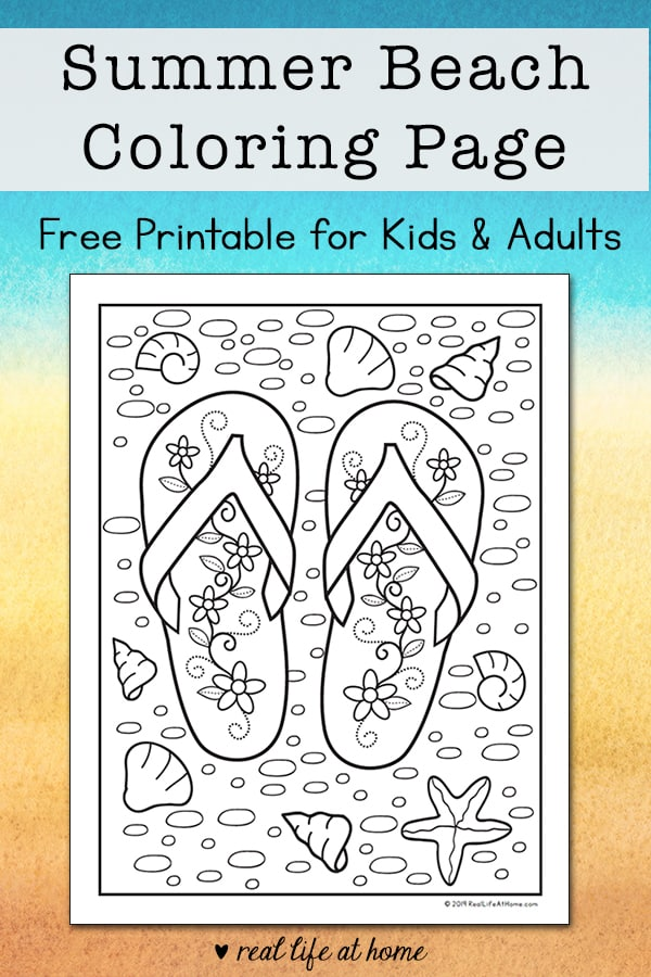 photo relating to Flip Flop Printable titled Summer months Seaside Change Flop Coloring Web page - Cost-free Printable