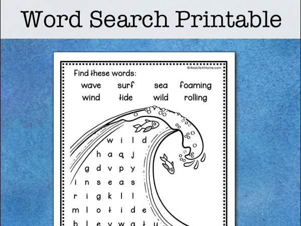 Easy and Free Ocean Wave Word Search Printable for Kids