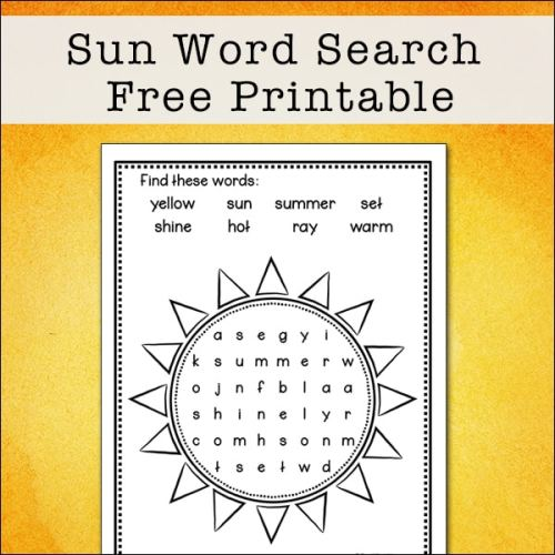 This easy summer sun word search printable is perfect for elementary-aged kids to solve and color. It features eight words about the sun.