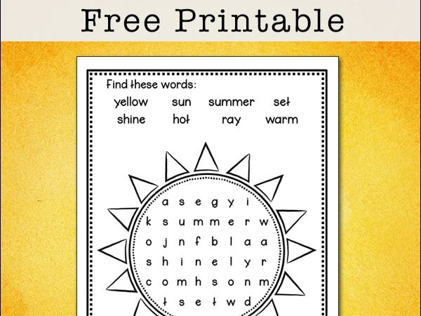 Easy and Free Summer Sun Word Search Printable for Kids