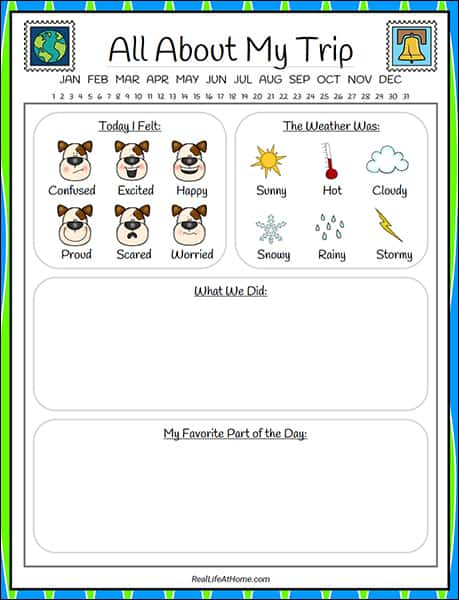graphic relating to Travel Journal Printable referred to as Drive Magazine for Small children - Absolutely free 28-site Printable Packet