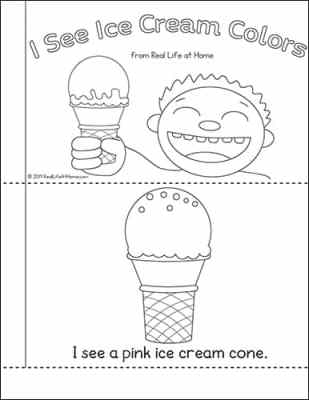 Printable Colors Book for Kids with an ice cream theme
