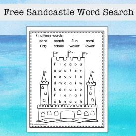 This easy sandcastle word search printable is a fun summer activity for elementary-aged kids to solve and color. It features eight words about sandcastles