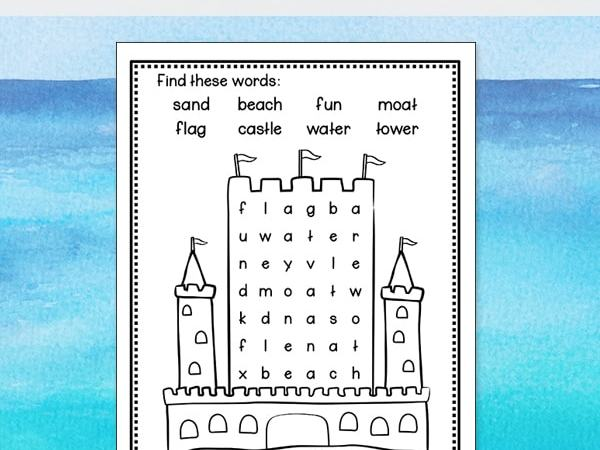 Sandcastle Word Search – Free and Easy Beach Word Find for Kids