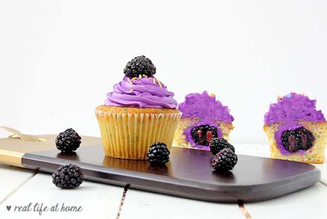 Cupcakes with Homemade Blackberry Buttercream Frosting (recipe)
