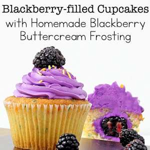 Blackberry-filled Cupcakes with Homemade Blackberry Buttercream Frosting Recipe