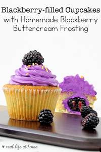 Enjoy blackberry season with these cupcakes filled with a fresh blackberry and topped with a gorgeous homemade blackberry buttercream frosting. (from Real Life at Home)