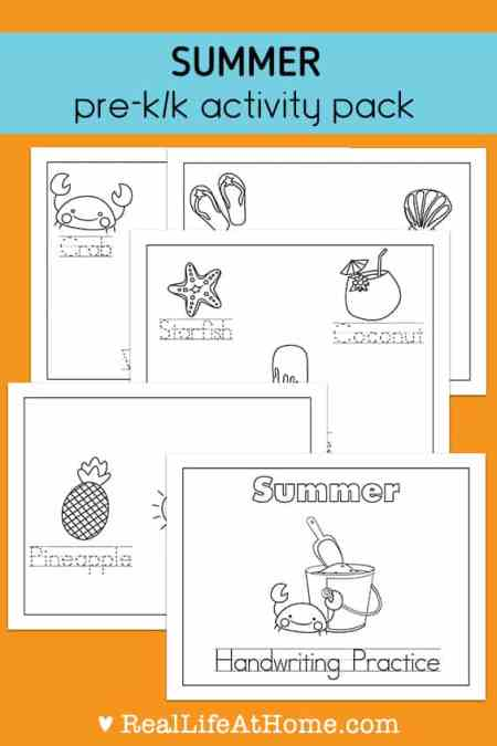 Preschool and Kindergarten students can work on tracing summer-themed words and coloring pictures in this free 15-page Summer Handwriting and Coloring printable packet.