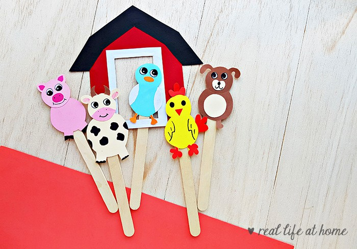 image regarding Free Printable Farm Animal Cutouts identified as Farm Animal Adhere Puppets Craft with Absolutely free Printable Types