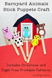 Farm animals stick puppets craft