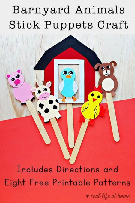 Here are directions and eight free printable patterns for farm animal stick puppets. Your kids can use these for finger plays, songs, storytelling, and more.