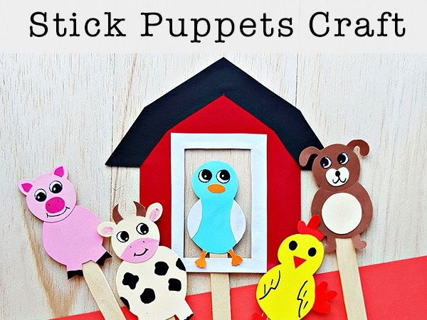 Farm Animal Stick Puppets Craft with Free Printable Patterns