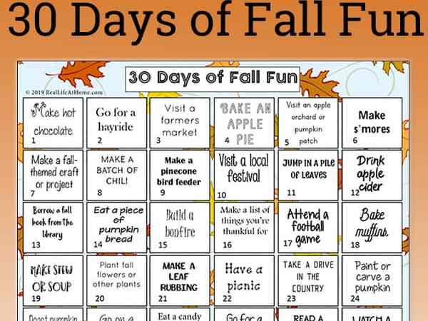 Free Printable: 30 Fall Activities for Kids and Families