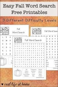 Free Easy Fall Word Search Printables for Kids - includes fall words and phrases in three versions with different levels of difficulty (6 words, 8 words, and 15 words)