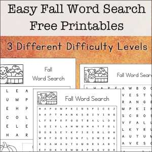 Easy Fall Word Search Printables Set (with Three Levels of Difficulty)