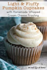 Recipe for Light and Fluffy Pumpkin Cupcakes with Homemade Whipped Cream Cheese Frosting