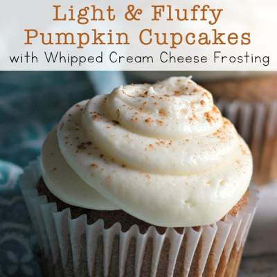 Recipe for Light and Fluffy Pumpkin Cupcakes with Whipped Cream Cheese Frosting